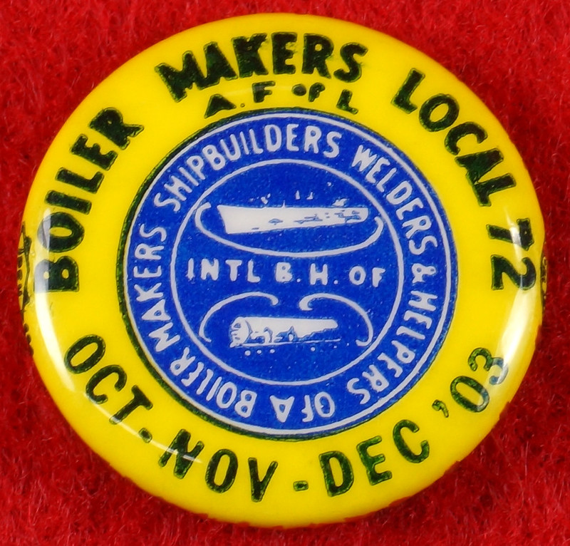 RD17136 1980 Boilermakers Iron Ship Builders Blacksmiths Forgers & Helpers Local 568 Tacoma Brass Belt Buckle Anacortes DSC09411
