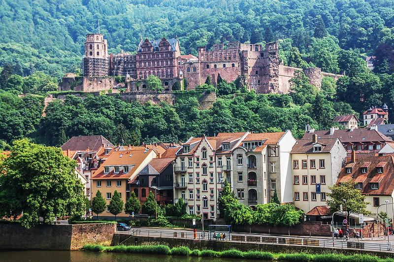 海德堡古橋眺望古城堡