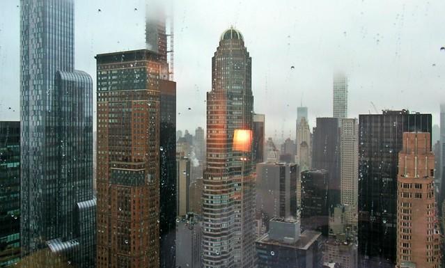Bright lamp. Small drops. Big city.