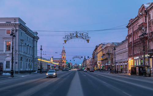 saintpetersburg sunrise nevskyprospect street city outdoor town snow morning blue colorful road old avenue building car purple style cityscape russia winter architecture sky nevskyavenue outdoors petersburg prospect russian st leningradoblast ru