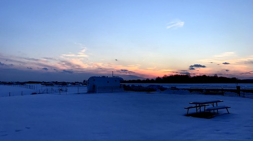 solberg airport snow planes whitehouse station nj sunset clouds picnic table