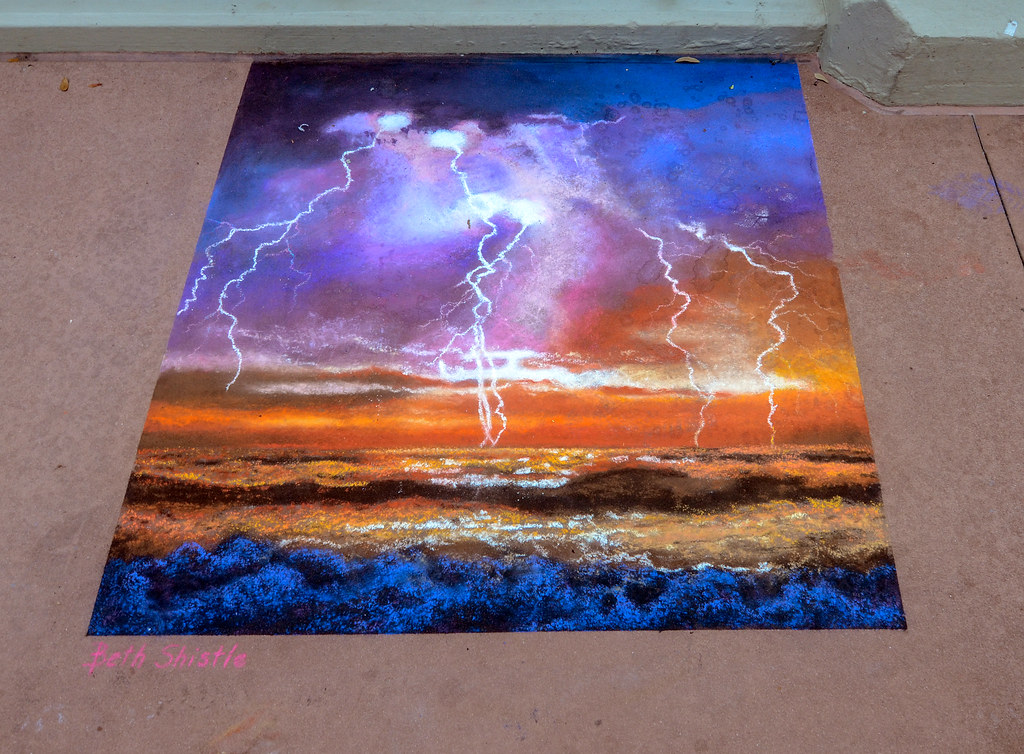 Epcot Sidewalk Art lightning