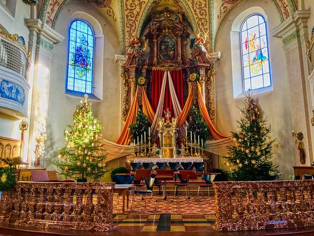 Interior of the Holy Cross parish church in Kiefersfelden, Bavaria, Germany