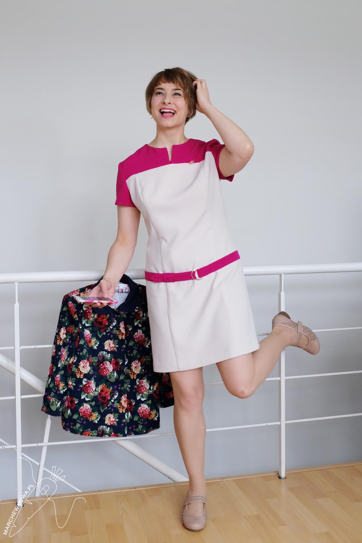 marchewkowa, blog, szycie, sewing, rękodzieło, handmade, moda, styl, vintage, retro, repro, 1960s, Wrocław szyje, w starym stylu, Burda 9/1966, two-colour dress, dwukolorowa sukienka
