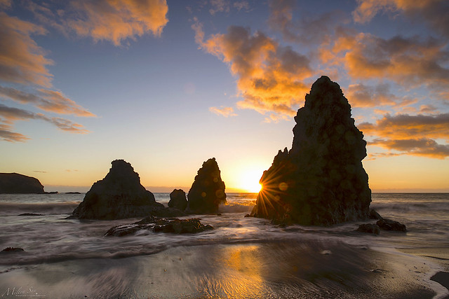 Famous rocks and a low tide sunset
