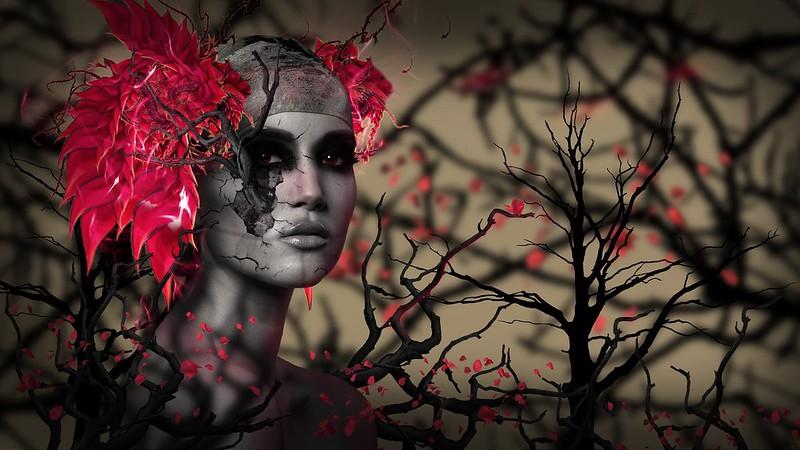 Обои лицо, листья, ветки, 3d, арт, рендеринг картинки на рабочий стол, фото скачать бесплатно