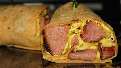 Kielbasa and egg wrap with cheddar