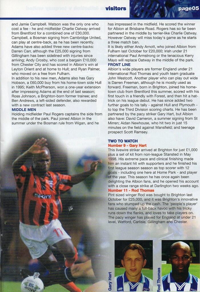 (Programme) 11-09-1999 Halifax Town 2-1 Brighton & Hove Albion 4