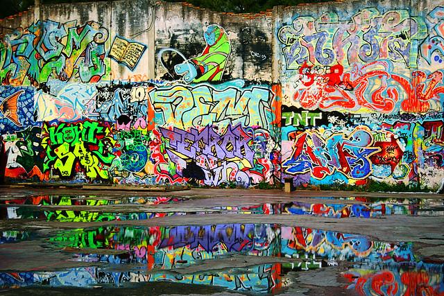 i murales della snia e l'acqua