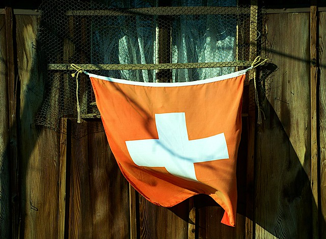 Swiss Flag in a Spring Breeze