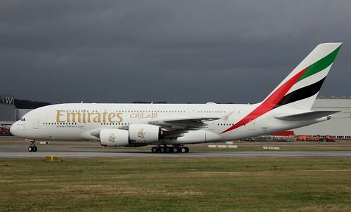 Emirates, F-WWAD, Reg. A6-EVG, MSN 0256, Airbus A 380-842, 13.03.2019, XFW-EDHI, Hamburg Finkenwerder (Testflug F2)   by henryk.konrad
