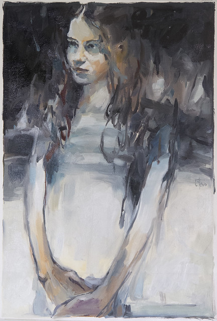 Portrait of Young Woman, oil on loose canvas 80 x 50 cm