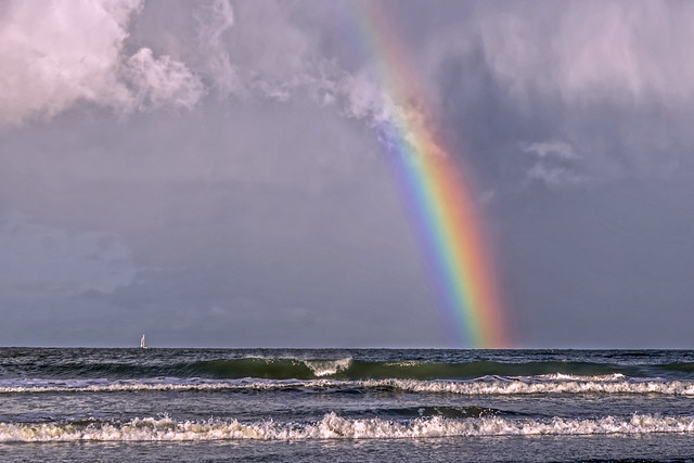 Rainbow in the sea.