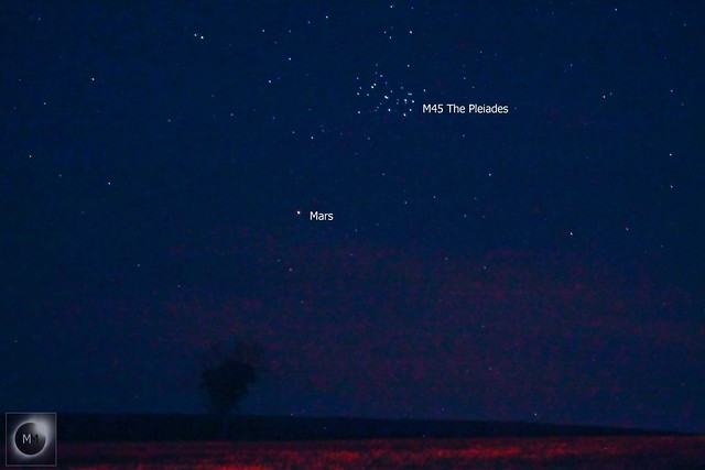 Mars & M45 The Pleiades Conjunction 21:55 GMT 29/03/19