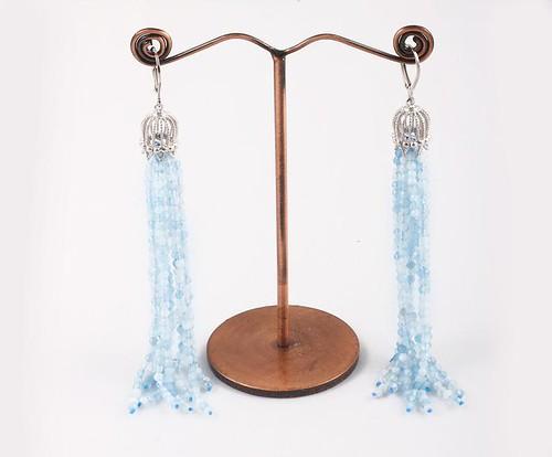Natural Aquamarine micro faceted beads Earrings