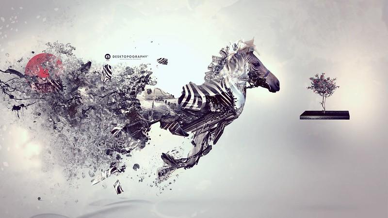 Обои зебра, сюрреализм, вдохновение картинки на рабочий стол, фото скачать бесплатно
