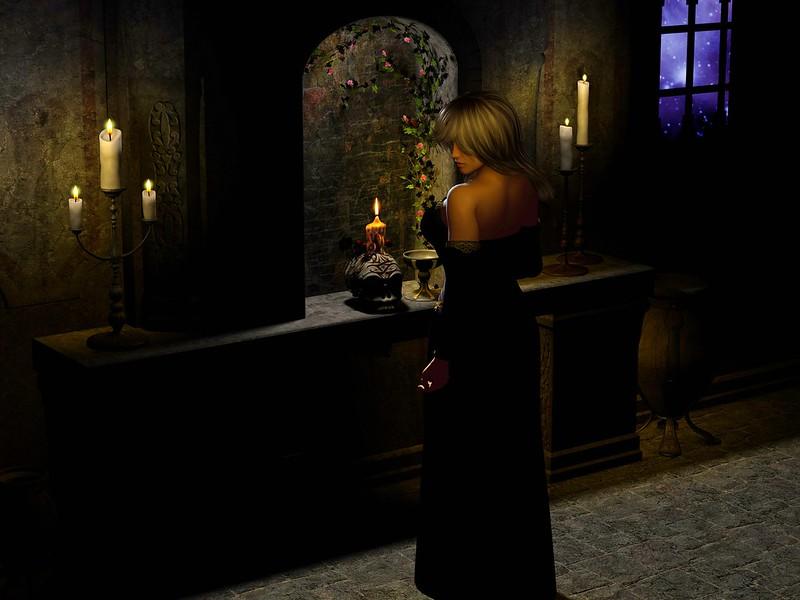 Обои девушка, окно, звёзды, ночь, цветы, свечи, череп, готика картинки на рабочий стол, фото скачать бесплатно