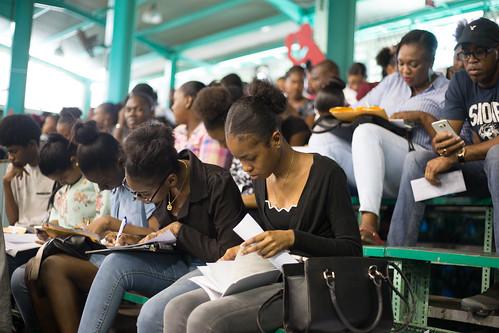 Youths at the job fair. | by DPI Guyana