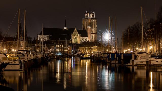 Grote Kerk Dordrecht in Nieuwjaarsnacht