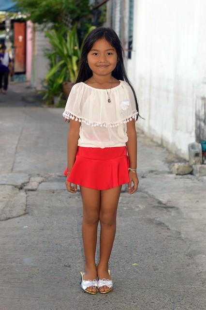 cute girl in a pretty dress