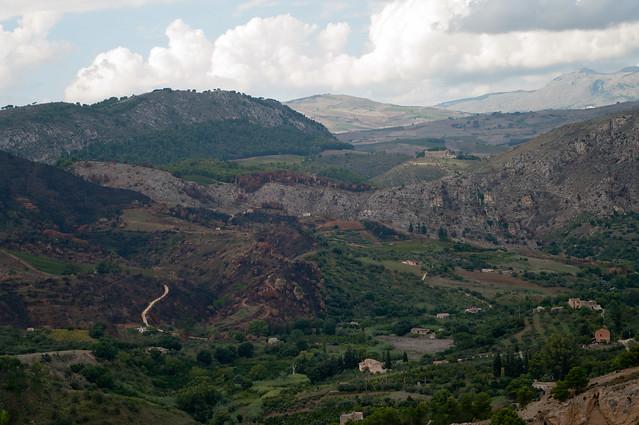 Sicilian landscape with the Temple of Segesta