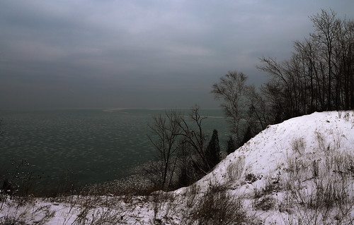 elements nature water wood woods trees shore shoreline snow winter hill hillside overcast clouds lake ice wisconsin landscape seascape field horizon cold