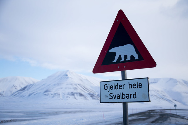 A warning sign just outside Longyearbyen town, Svalbard/Spitsbergen