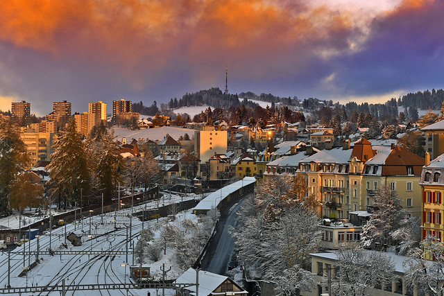 Snowy twilight time on La Chaux-de-Fonds. Canton of Neuchâtel. Switzerland.izakigur 14.11.17, 17:55:47. No. 0959.