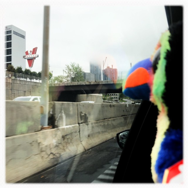 Riding through Atlanta.