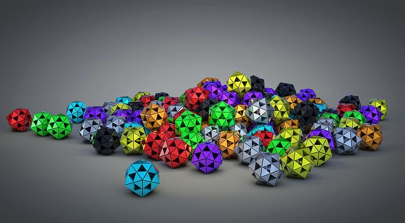 Обои абстракция, цвет, мяч, треугольник, объем, многогранник картинки на рабочий стол, фото скачать бесплатно