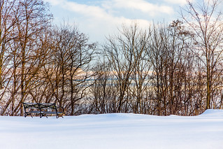 Bench Overlooking Frozen Lake Michigan | by VBuckley.com