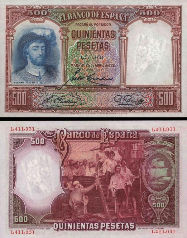 500 Pesetas Španielsko 1931, P84