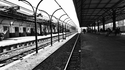 parallel railway train bw mobile photography