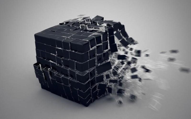 Обои куб, взрыв, составляющие картинки на рабочий стол, фото скачать бесплатно
