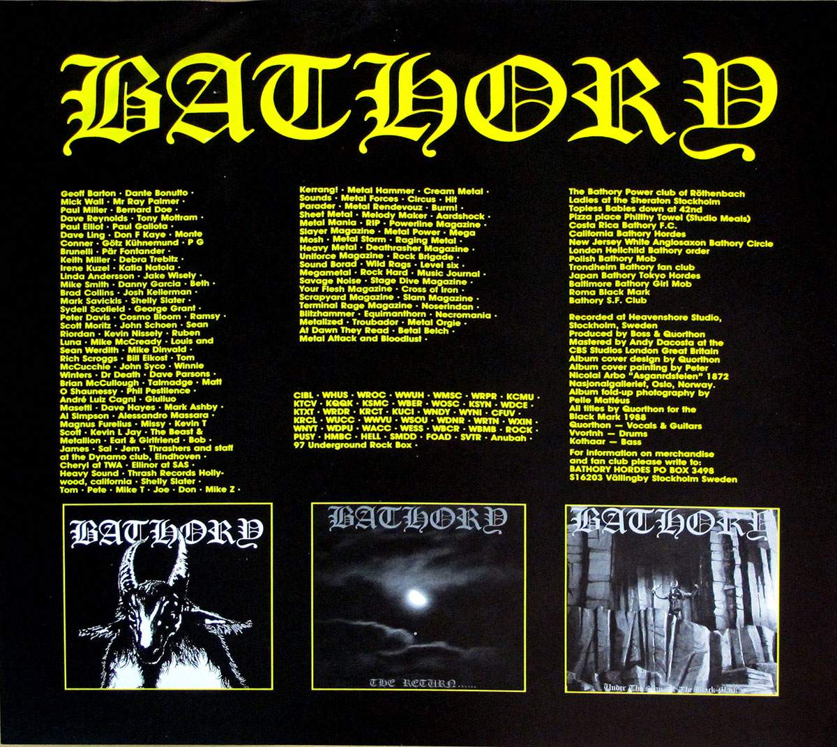 "BATHORY Blood Fire Death Foc Gatefold Rare France Incl Lyrics Sheet 12"" Lp Vinyl"