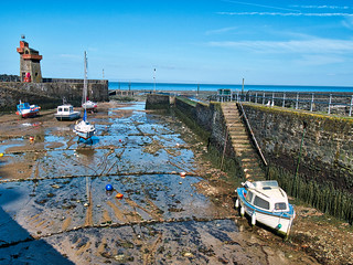 Lynmouth harbour at low tide