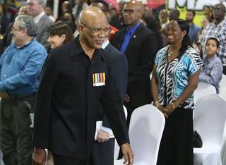 President David Granger cracks a smile. — at D'urban Park.   by DPI Guyana