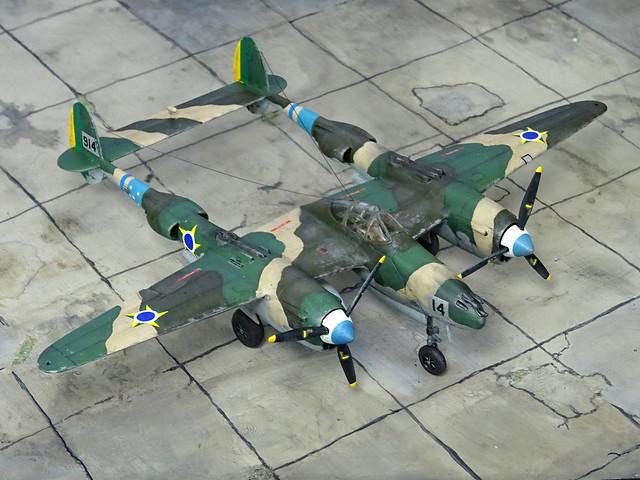"1:72 Lockheed P-38L ""Lightning""; ""(9)14"" (ex USAAF s/n 44-03914) of the Força Aérea Brasileira (FAB, Brazilian Air Force) Esquadrão ""Pampa"", 1°/14° Group of Aviation; Canoas Air Base, Porto Alegre/Southern Brazil, 1949 (Whif/Matchbox kit)"