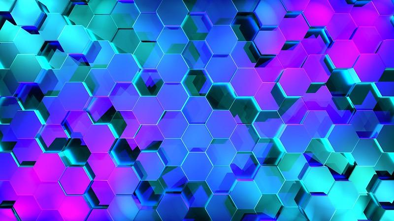 Обои шестиугольники, рендеринг, свет, форма картинки на рабочий стол, фото скачать бесплатно