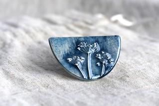blue coriander brooch