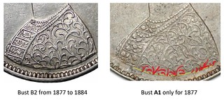 British Indian Half Rupee Bust Variety image10 Bust B2 from 1877 to 1884 Bust A1 only for 1877 | by Numismatic Bibliomania Society