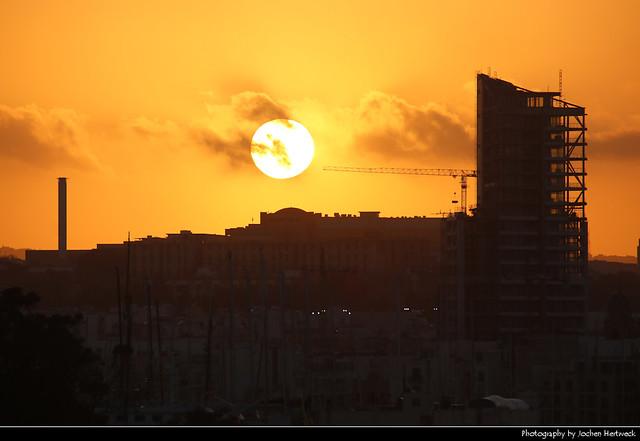 Sunset seen from Tigne Point, Sliema, Malta