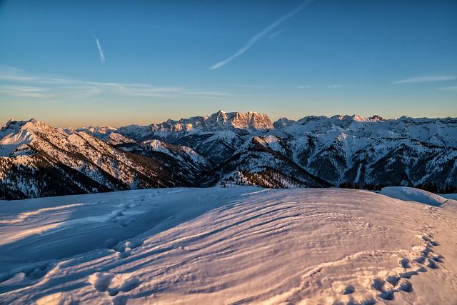 Zugspitze im Sonneuntergang vom Koflerjoch