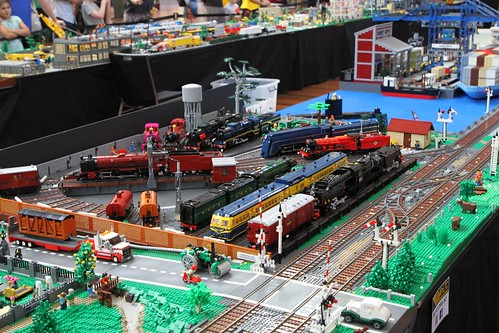 Lego models of a range of Victorian steam engines and railcars