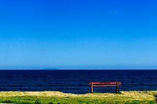 Um branquinho e o mar.
