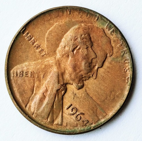 Fake double-struck obverse 1964 Lincoln Cent obverse