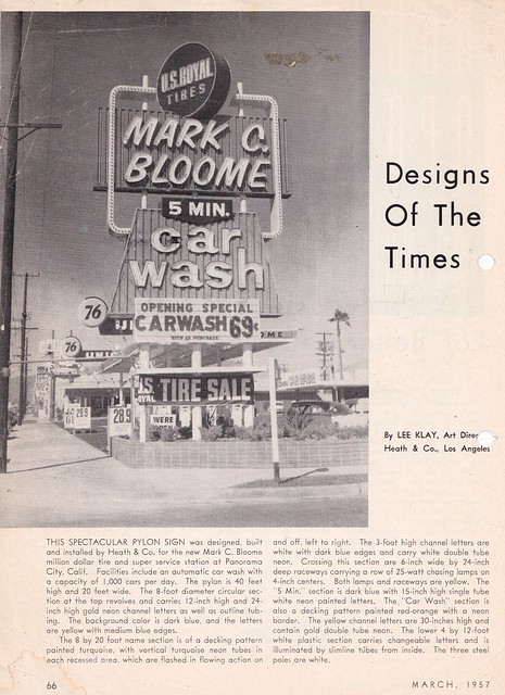 Designs of the Times - Mark C. Bloome Car Wash - Sign by Heath - circa 1957