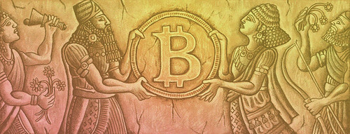Cryptocurrency as ancient idea graphic
