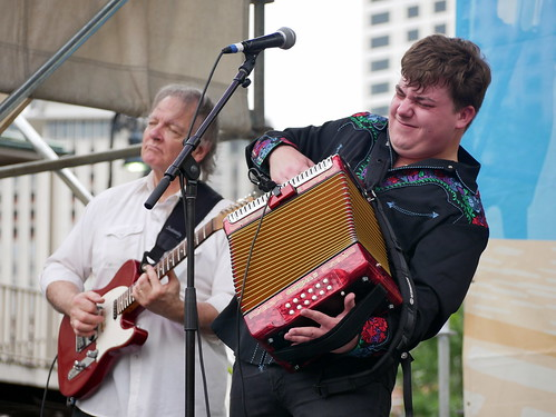 Cameron Dupuy & the Cajun Trubadours on Day 2 of French Quarter Fest - 4.12.19. Photo by Louis Crispino.