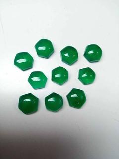 natural green onyx hexagon cabochon gemstone
